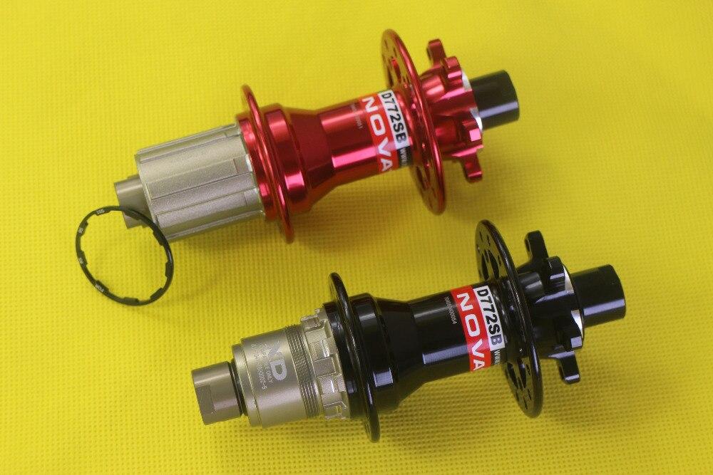 Novatec D772SB 142mm X12 disc rear hub MTB XC AM 24 28 32 holes black red
