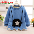 2015 New Autumn Winter Korean Fashion Girls Warm Long Sleeve Solid Hoodies Knapsack O-neck Sweatshirts for Cute Girls Children