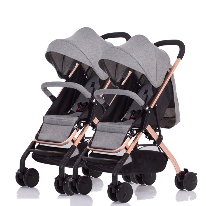 Portable lightweight twin stroller high landscape can sit reclining foldable four wheel shock double trolley travel stroller