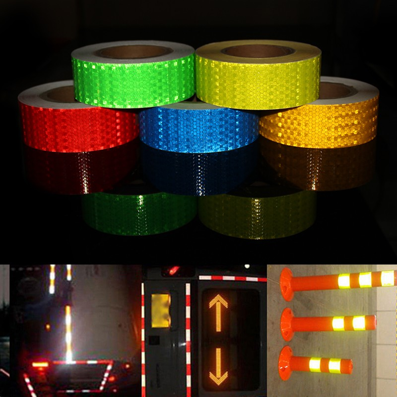 5CM*45M Self-Adhesive PVC Reflective Flashing Warning Safety Tape Truck Road Traffic Construction Site Floor Wall Warning Strip