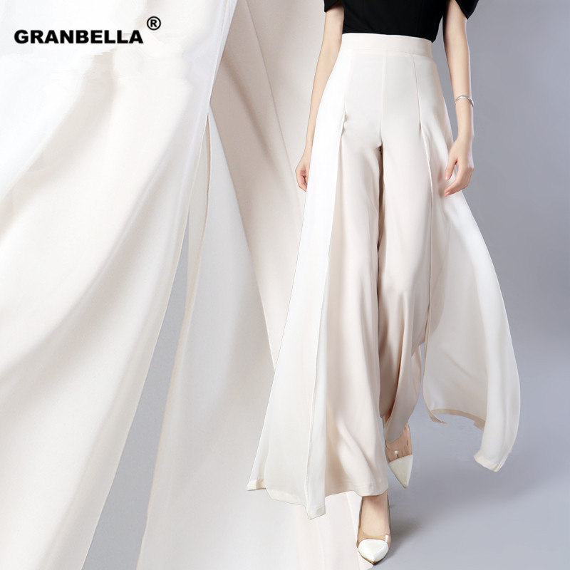 Elegant women summer   Wide     leg     pants   elastic high waist split chiffon trousers Casual streetwear fashion female palazzo PA003