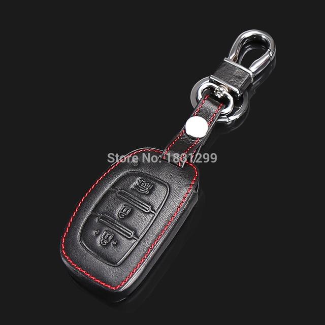 Car Genuine Leather Remote Control Keychain Key Cover Case For Hyundai Ix25 Ix35 Verna 3ons