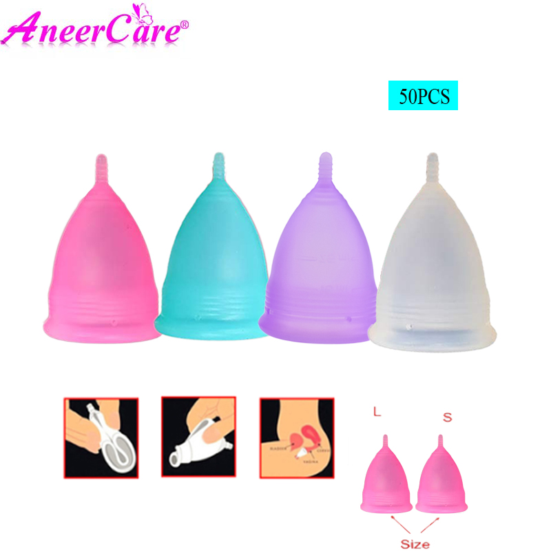 50pcs Feminine Hygiene collector Menstrual Cup Medical Grade Silicone Copo de Medica Reusable