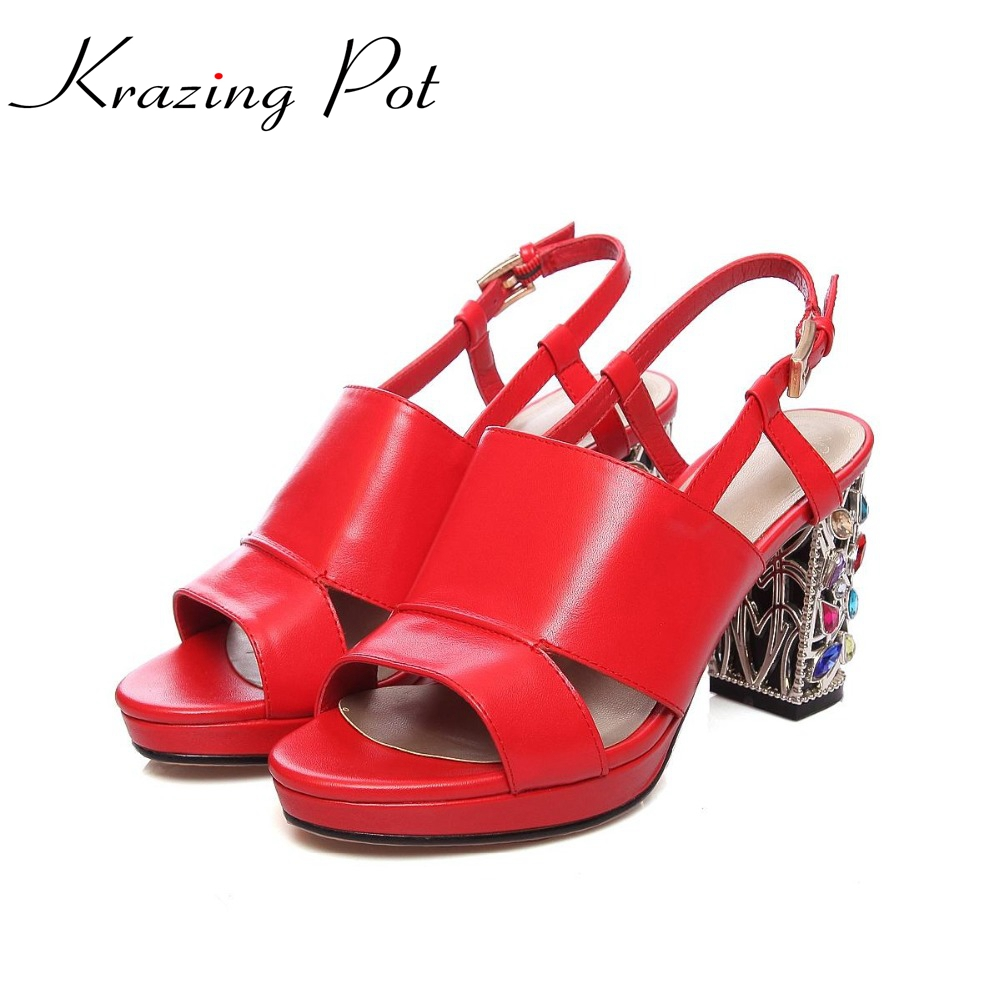 цена  2017 genuine leather soft leather buckle straps superstar crystal high heels wedding brand shoes peep toe women red sandals L0f1  онлайн в 2017 году