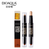 BIOAQUA Brand 2 In 1 Bronzer Highlighter Stick 3D Face Makeup Cream Concealer Foundation Stick Contour Pencil Cosmetics Pen