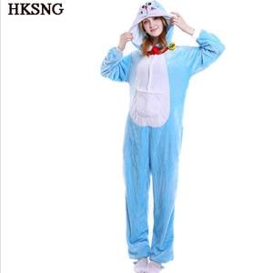 Image 1 - HKSNG Doraemon Pajamas Winter Adult Unisex Animal Anime Cat Halloween Onesies Cosplay Costume Kigu Party Pyjamas Kigu