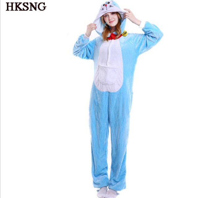HKSNG Doraemon Pajamas Winter Adult Unisex Animal Anime Cat Halloween Onesies Cosplay Costume Kigu Party Pyjamas Kigu
