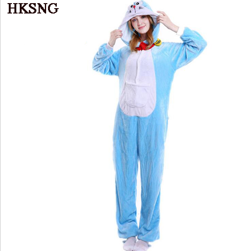 HKSNG Doraemon Pajamas Winter Adult Unisex Animal Anime Cat Halloween  Onesies Cosplay Costume Kigurumi Party Pyjamas