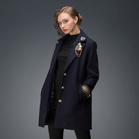 L 3xl 4xl 5xl Plus Size British Style Women Cashmere Coat Runway 2017 New Fashion Embroidery Patch Ladies Long Wool Coat Navy