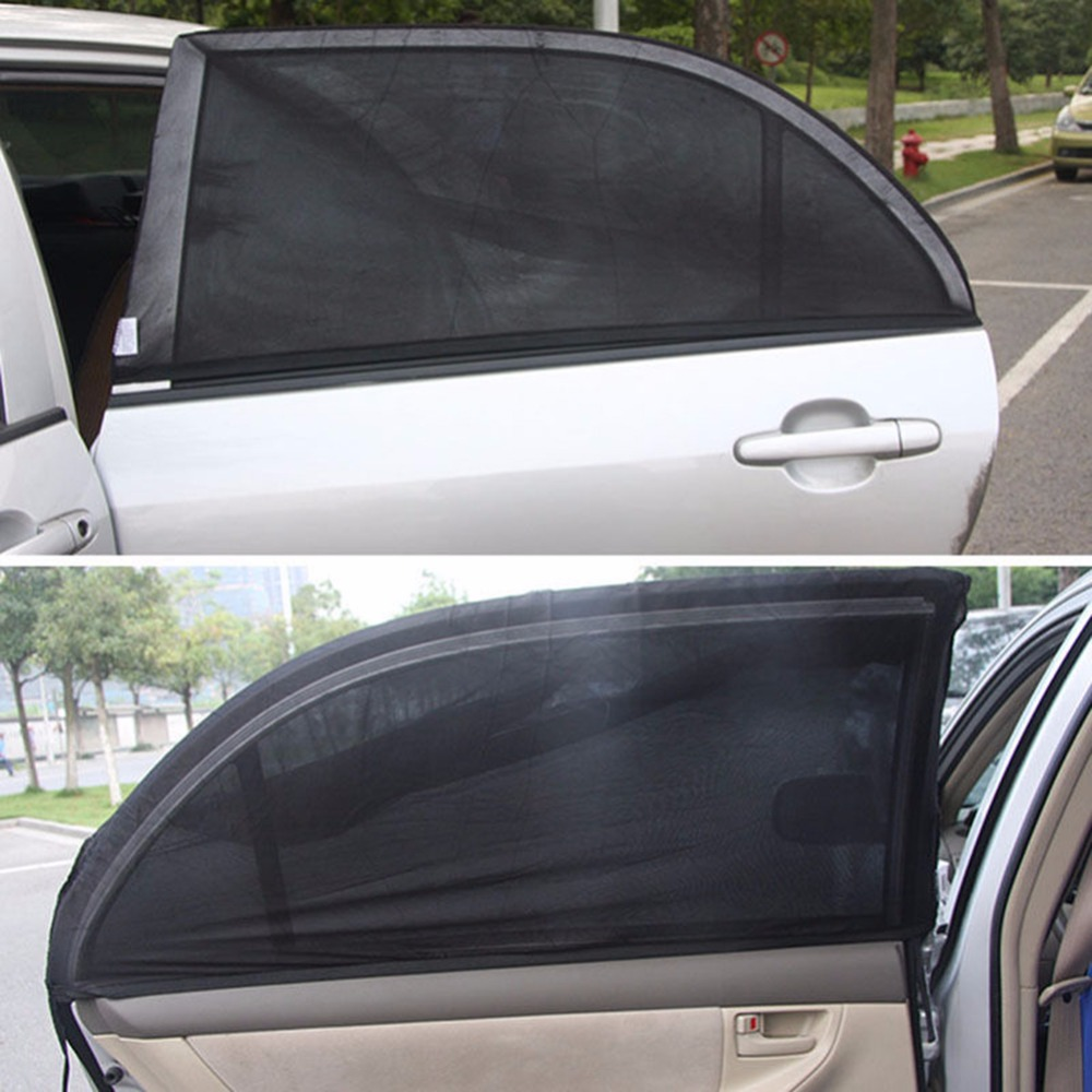 Visor-Shield Sunshade Car-Cover Window Uv-Protection Black Auto Rear Mesh 2pcs Adjustable