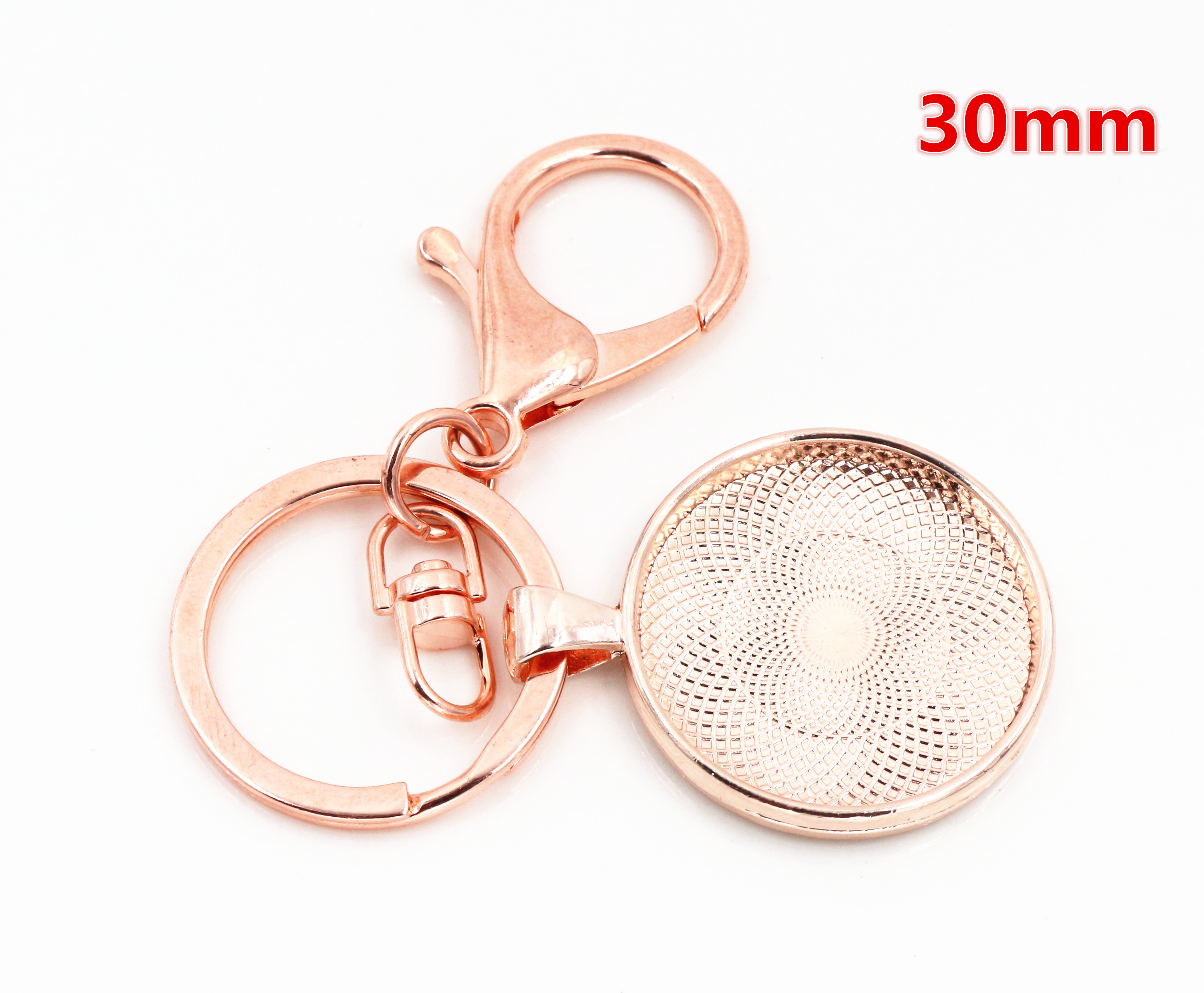 2pcs 30mm Inner Size Rose Gold Color Cameo Setting Base;Handmade Cameo Setting, Metal Key Chains Accessor (SG-B7-12)