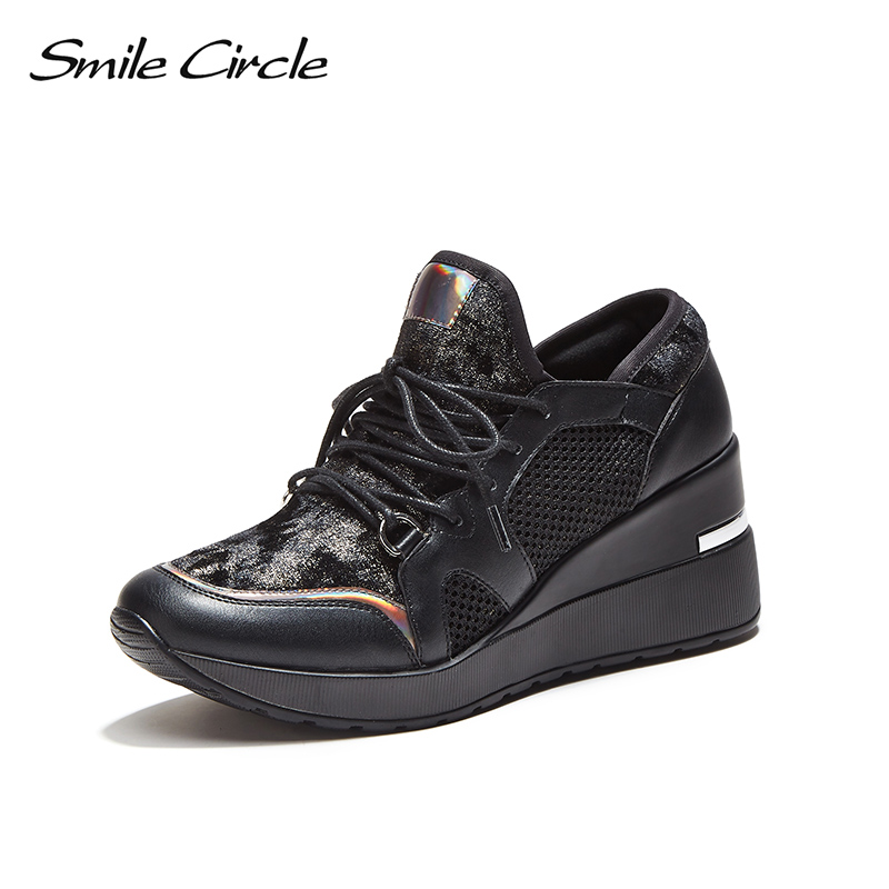 Smile Circle 2018 Spring Autumn Wedges Sneakers Women Fashion Lace up Platform Shoes For Women High heels Casual Shoes C717B02