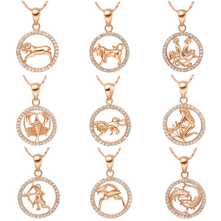 Uloveido crystal necklaces pendants 12 constellations virgo libra uloveido crystal necklaces pendants 12 constellations virgo libra scorpio rose gold color suspension necklace jewelry n1047 in pendants from jewelry mozeypictures Images