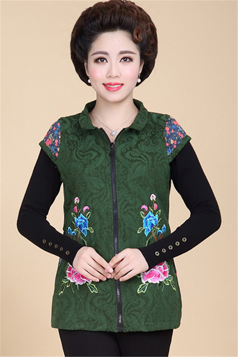 Spring Autumn  Middle-Aged Women Vests & Waistcoats Embroidery Print Vest Fashion Vest Female Grandmother Outerwear & Coats X377