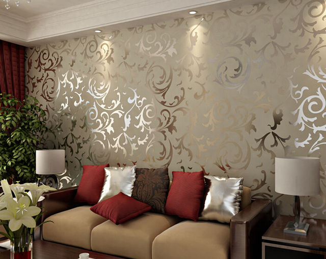 Adesivo Papel De Parede Floral 3D Damask Vintage Embossed Home Decor Living  Room Wallcovering Flocking Mural