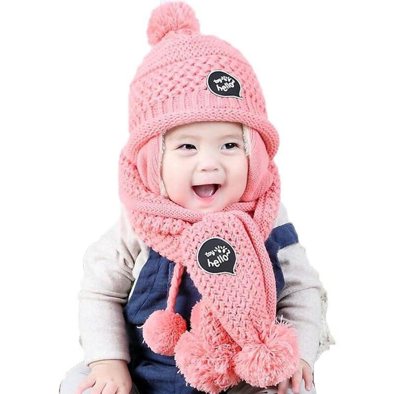 Kids Baby Cap Set Unisex Pom Pom Beanies Hats And Scarf Girl Boy Cap Scarf Set Child Winter Earmuffs Hat Scarf Warm Suit M5056