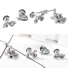Stainless Steel Puncture Dragon Ghost Head Evil Spirit Bicycle Stud Earrings Jewelry(China)
