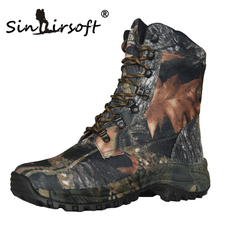 SINAIRSOFT Outdoor Hiking Trekking shoes Waterproof Mountain boots Camo Hunting Camouflage Oxford Fabric Leather Hiking Boots yin qi shi man winter outdoor shoes hiking camping trip high top hiking boots cow leather durable female plush warm outdoor boot