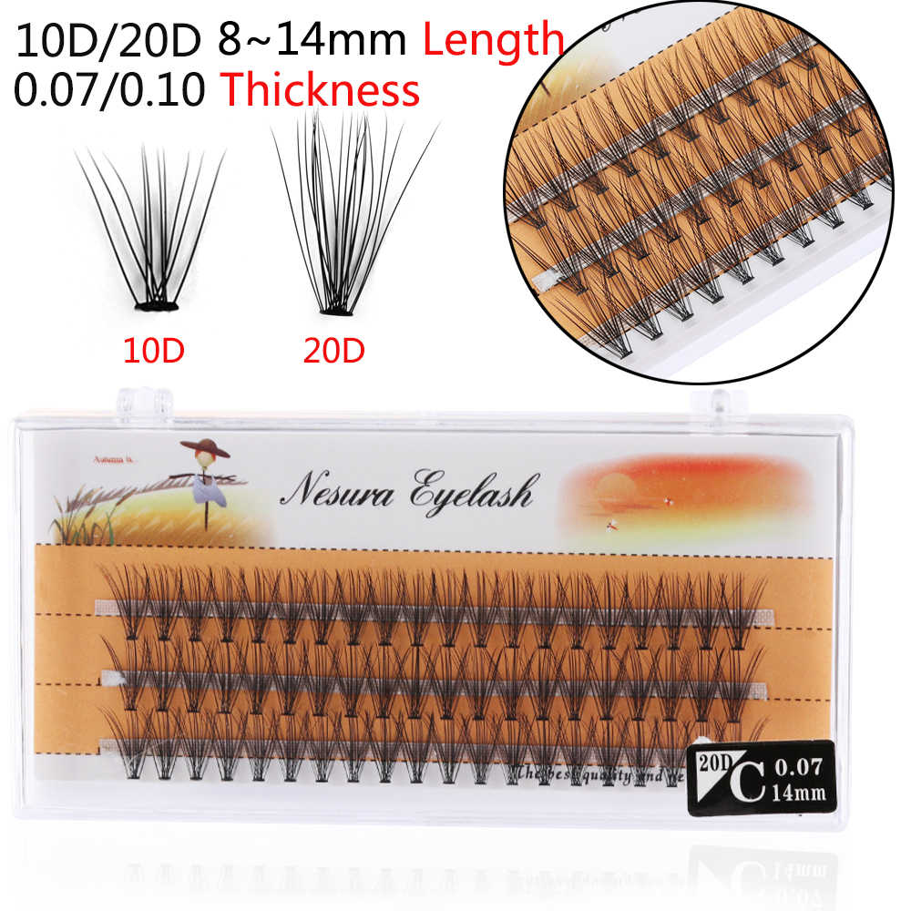 cfd386c75cb 60 Clusters/Box Handmade False Eyelashes Flare Individual Eye Lashes  Extension C D Curl Knot Free