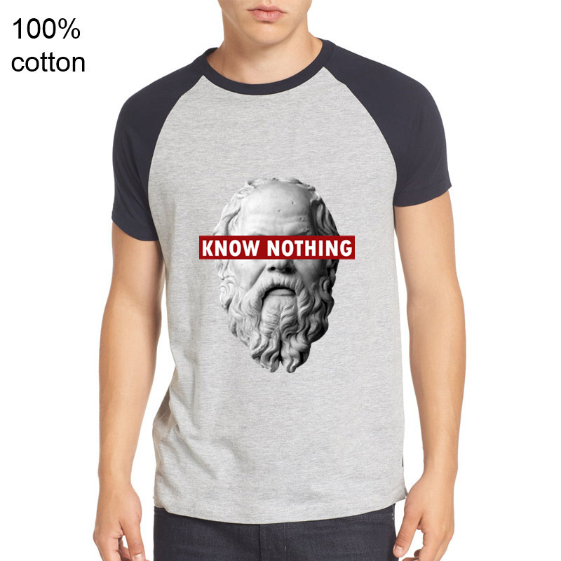 Alfa Romeo Juego De Tronos tshirts parody style Printed Tshirts Men T shirts KNOW NOTHING SOCRATES - Philosophy Graphic T-Shirts image