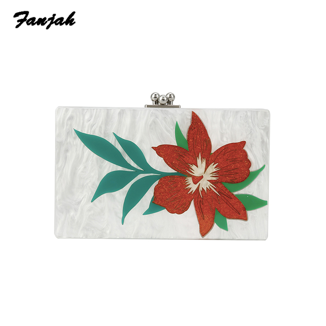 Lady Crossbody Bag Women Fashion 2018 Mini Chain Shoulder Wallet National Summer Bag Pearl Striped Flower Acrylic Clutch Bags