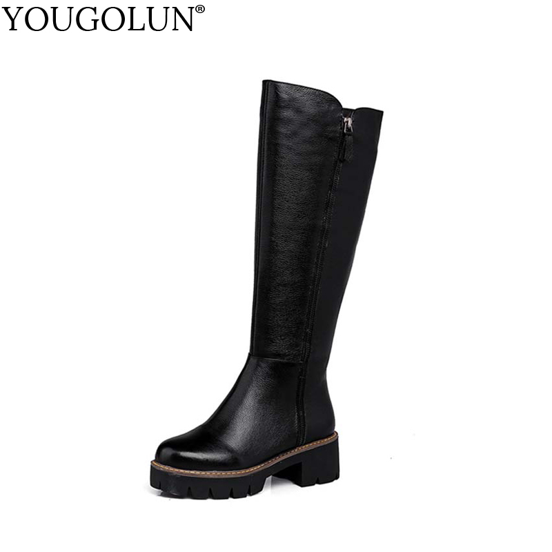 YOUGOLUN Women Knee High Boots Genuine Leather Autumn Winter Black Motorcycle Platform Shoes Mid Square Heel 5.5 cm Heels #Y-173 yougolun women ankle boots 2018 autumn winter genuine leather thick heel 7 5 cm high heels black yellow round toe shoes y 233