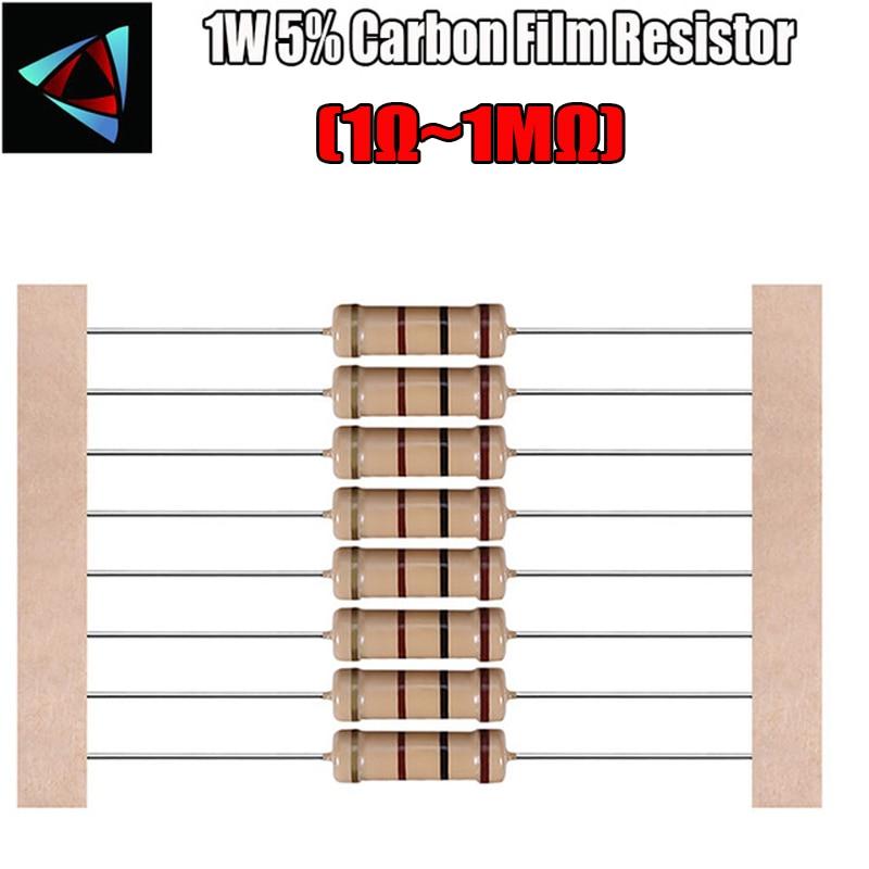 20 шт., 1 Вт, 1R ~ 2,2 м, 5% карбоновый пленочный резистор 100R, 220R, 1K, 1,5 K, 2,2 K, 4,7 K, 10K, 22K, 47K, 100K, 100, 220, 1K5 2K2, сопротивление 4K7 Ом