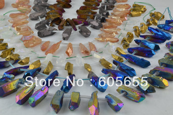 Jewelry making Electroplate Purple Natural Crystal Quartz Point Rough Columnar Stone Beads 5 strands per lot  Free ship