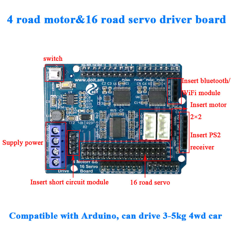2ch 4ch DC Motor <font><b>driver</b></font> <font><b>16</b></font> way <font><b>Servo</b></font> Drive shield Board for Arduino 2wd 4wd RC Smart Robot Tank Car DIY robotic arm robotics image