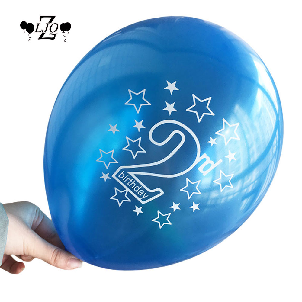ZLJQ 30pcs 2nd Latex Balloon Boy Kids Birthday Party Decoration Globos for 2 Year Old Baby Shower Balloons Supplies 12inch