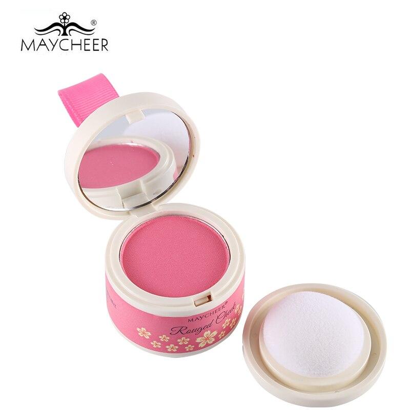 MAYCHEER 6 färger Mini Blusher Rouged Cheek Powder Blush med Svamp & Spegel Bronzer Natural Tone Bar Varm Rosa Naken Kosmetika