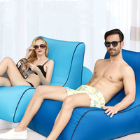 beach inflatable sofa chair portable single lounger moisture water proof lazy sofa bed camping air garden mat outdoor sofa