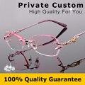 Mujeres de lujo de diamantes diseño de alta claro lentes titanium sin rebordes miopía gafas de ordenador señoras gafas de lectura 618