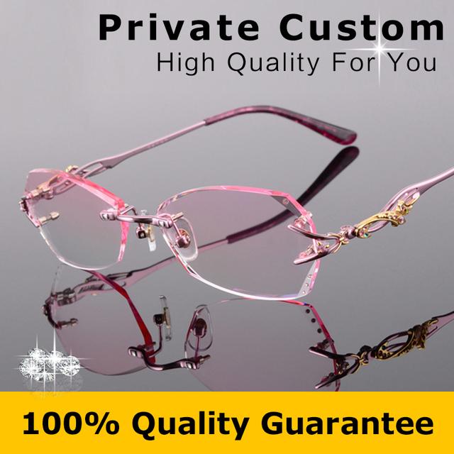 Titanium armação de óculos sem aro mulheres diamantes de luxo projeto alta limpar lentes óculos de miopia computador senhoras óculos de leitura 618