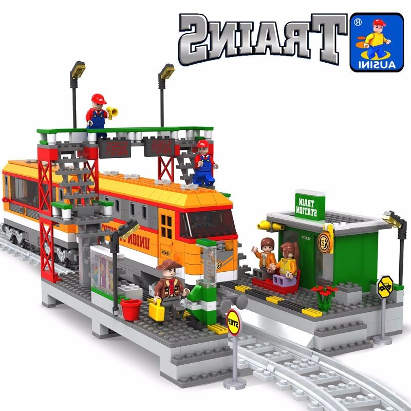Model building kits compatible with lego city train rail 003 3D blocks Educational model building toys hobbies for children