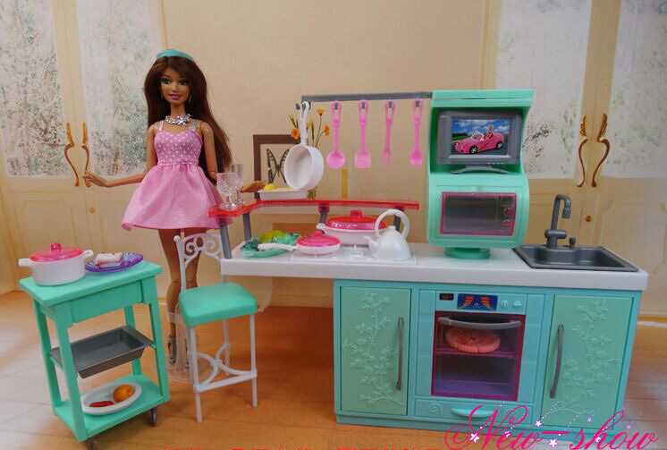 Online Shop Kitchen Cabinet Set / Dollhouse Cookhouse Dining Room Furniture  Equipment Accessories Decoration For Barbie Kurhn Doll Toy | Aliexpress  Mobile