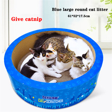 Pet cat scratch board, large round barrel litter board claw toy pet supplies, give grass