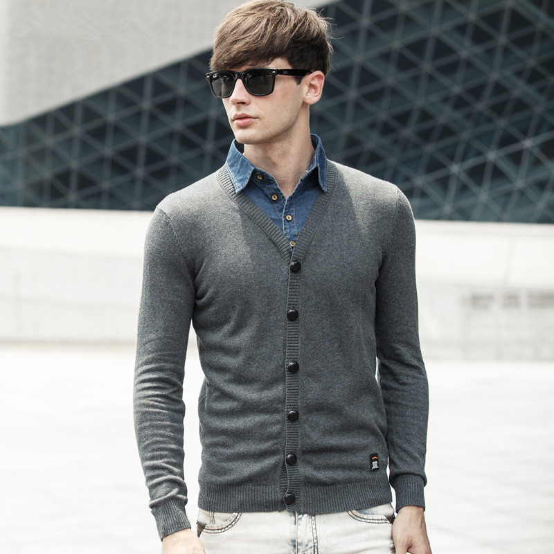 Mens cardigans sweater shirt collar casual style 100 for Mens shirt collar styles