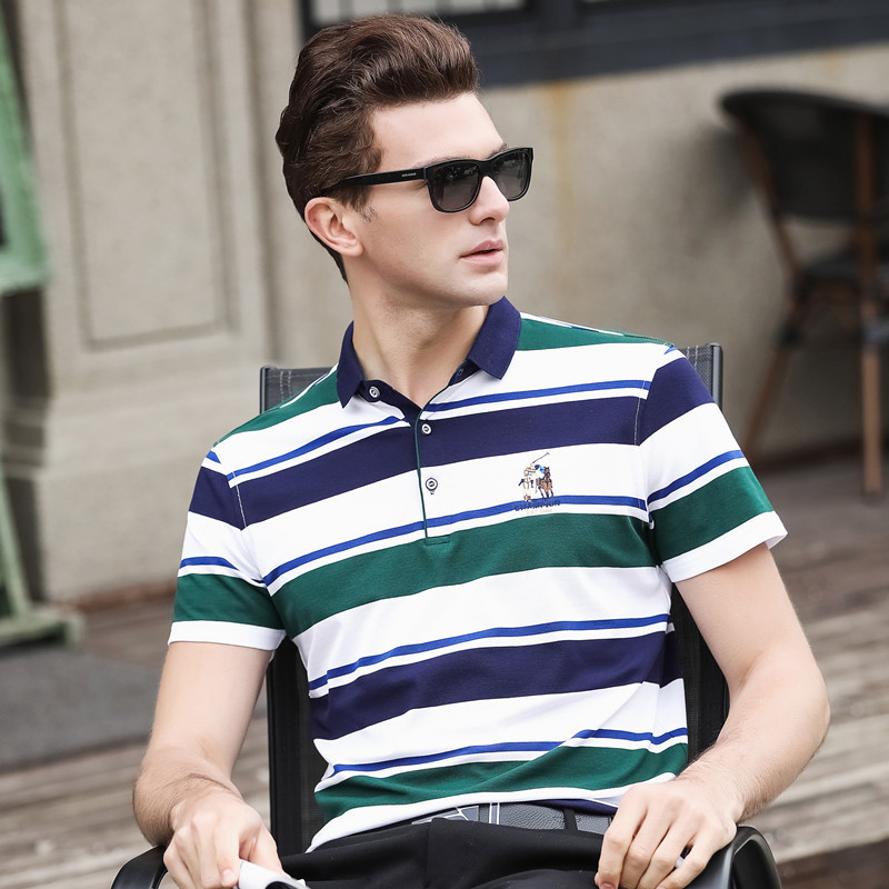 Summer Men Striped   Polo   Shirt Business Casual Slim Fit   Polo   Shirt Short Sleeve Cotton Breathable Classic High Quality Clothing