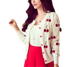Clobee otoño primavera mujeres suéter cherry bordado patrón Cardigan  chaqueta de señora abrigo manga larga corta 43ac95eebd11