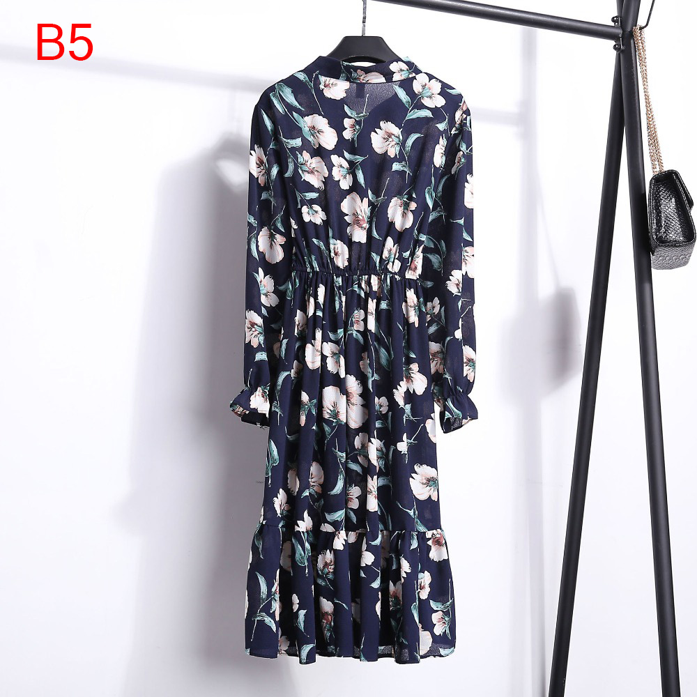 Korean Black Shirt Vestidos Office Polka Dot Vintage Autumn Dresses Women Winter Dress 19 Midi Floral Long Sleeve Dress Female 94