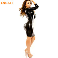 ENGAYI Brand Women Faux Leather Latex Erotic Lingerie Sexy Underwear Costumes Porn Babydolls Nuisette Langeri 1062