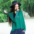 Otoño Boho Verde Azul Naranja Bordado de la Manga Del Batwing Suelta de Algodón Tops Mujeres Camiseta Floja Más Tamaño de Cuello Redondo Tops