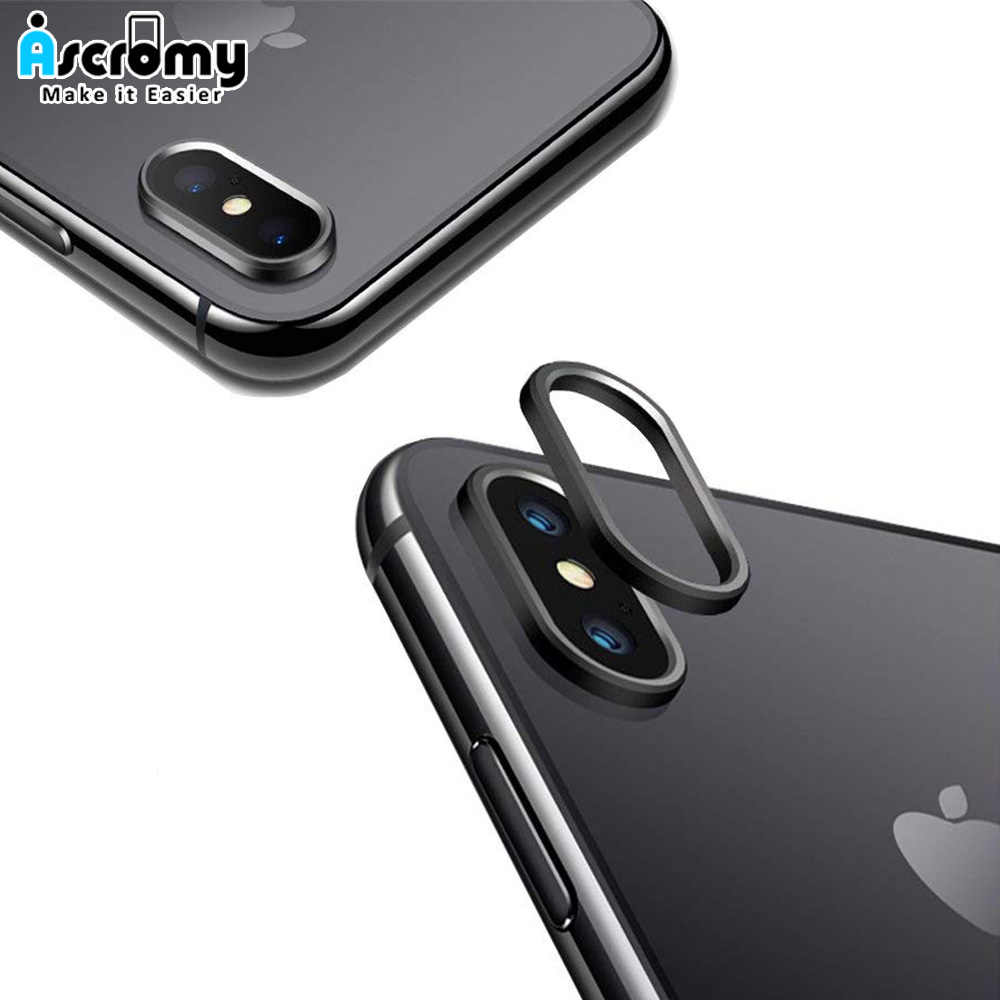 best website f89d0 e4bd9 Ascromy Camera Lens Protector For Apple iPhone XS Max XR X 10 8 7 6 6S Plus  Metal Rear Camera Ring Guard Case Cover Accessories