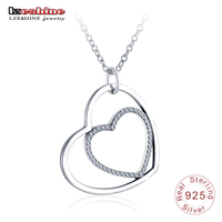 LZESHINE New Silver Double Heart Pendant Necklace For Lover Jewelry CZ Charms 925 Sterling Silver Necklaces