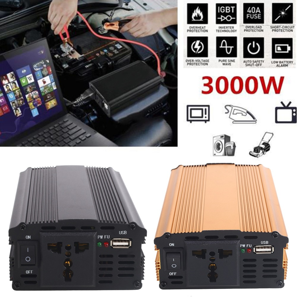 3000W DC12V To AC220V Travel Car Inverter Vehicles Converter solar Power Inverter Auto Overload Protect Adapter Clip Connecting