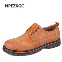 NPEZKGC Hand Made Genuine Leather Boots Men Low Ankle Woker Boots Male Hot Style Classic Fashion