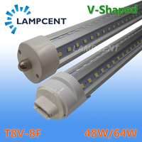 T8 V Shape LED Tube Bulb 8FT 48W 64W FA8 Single Pin R17D(HO) LED Shop Light Fixture Dual Row Chip Lamp Clear Cover 2 100 Pack