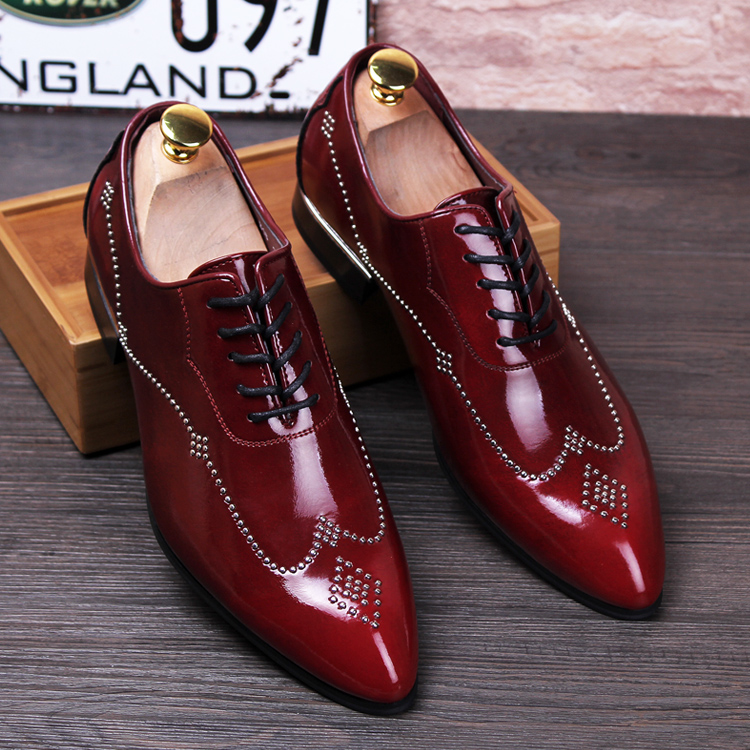 New 2016 Men Brogues Shoes Pointed Toe Genuine Leather Rivets Oxfords Italian Men Dress Shoes ...