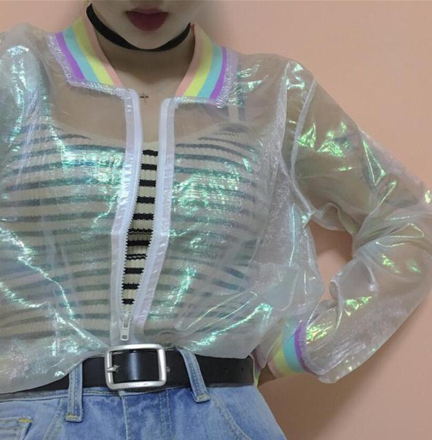 Summer Harajuku Women Jacket Laser Rainbow collar Women Coat